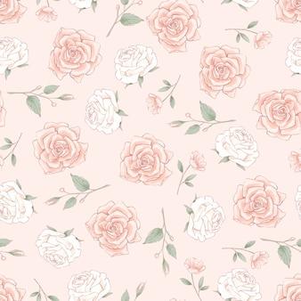 Nahtloses muster von zarten rosen. handzeichnung