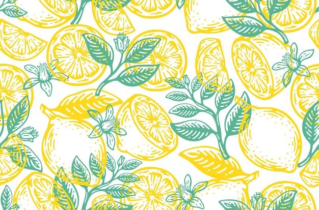 Nahtloses muster von zitronenfrüchten vintage