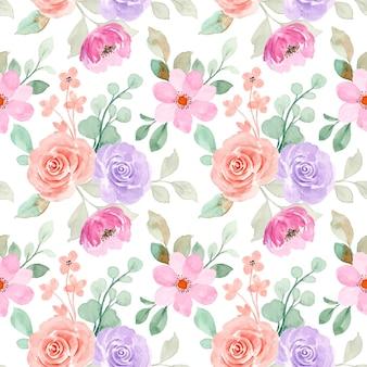 Nahtloses muster weiches rosa orange blumen mit aquarell