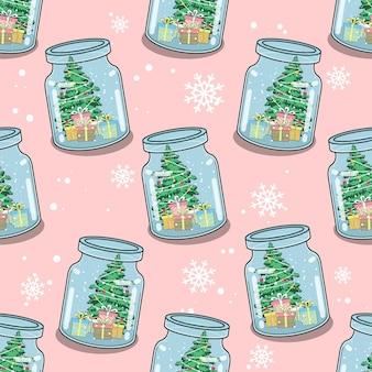 Nahtloses muster weihnachten in der flasche