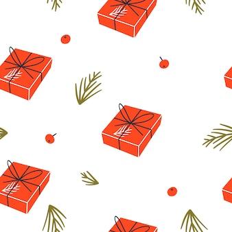 Nahtloses muster weihnachten und frohes neues jahr mit geschenkboxen.