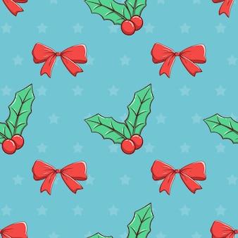 Nahtloses muster weihnachtsband und blätter