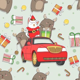 Nahtloses muster weihnachtsmann-katze auf auto