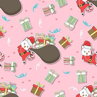 Nahtloses muster weihnachtsmann-katze und geschenke