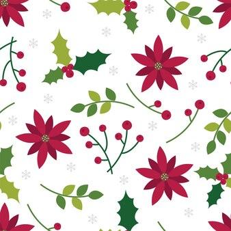 Nahtloses muster weihnachtstraditioneller hintergrund mit blatt und weihnachtsstern
