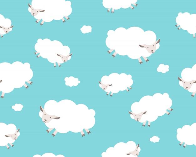 Nahtloses muster. weiße schafe und wolken am blauen himmel