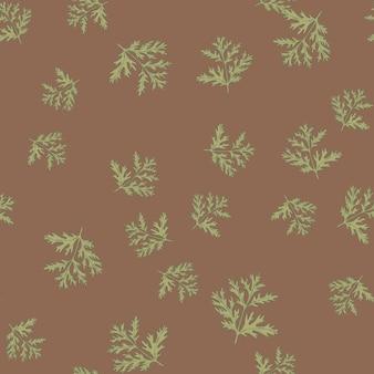 Nahtloses muster wermut auf braunem hintergrund. schöne pflanzenornament grüne farbe. zufällige texturvorlage für stoff. design-vektor-illustration.