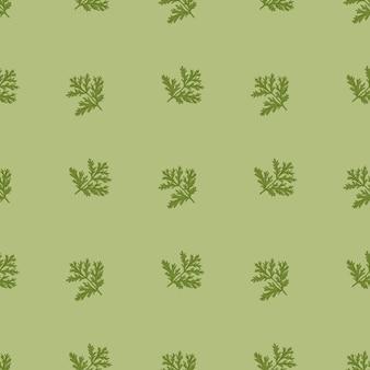 Nahtloses muster wermut auf grünem hintergrund. schönes pflanzenornament. geometrische texturvorlage für stoff.