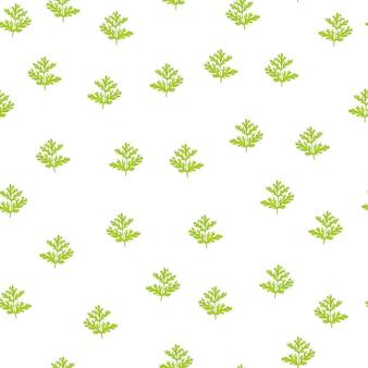 Nahtloses muster wermut auf weißem hintergrund. schöne pflanzenverzierung sommergrüne farbe. zufällige texturvorlage für stoff.