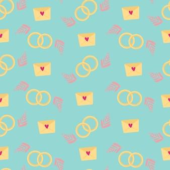 Nahtloses muster zum thema liebe. auf blauem hintergrund eine liebesbotschaft mit herz, abstrakten blütenblättern und eheringen. design für packpapier, stoff, karten und einladungen. vektor-illustration.