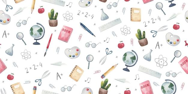 Nahtloses muster zurück zu schule handgezeichneter hintergrund mit schule und kreativer elementillustration