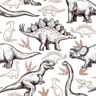 Nahtloses muster zweifarbiges gekritzel der dinosaurierabdrücke