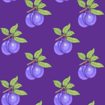 Nahtloses muster. zweige mit blättern und pflaumen auf einem lila hintergrund. illustration für verpackung, papier, tapete, stoffe, textilien.