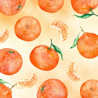 Nahtloses musteraquarell der orangenfrucht mit farbigem hintergrund