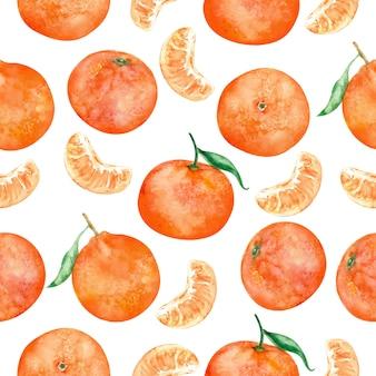 Nahtloses musteraquarell der orangenfrucht
