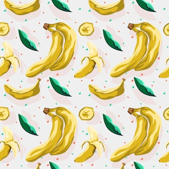 Nahtloses musterdesign der banane und des blattes