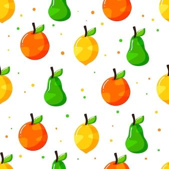 Nahtloses musterdesign der flachen hand gezeichneten früchte mit punktbeschaffenheit
