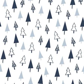 Nahtloses musterdesign der frohen weihnachten mit verschiedenen tannenbäumen und kieferikonen. flache vektorgrafik. für karten, banner, drucke, verpackungen, einladungen.