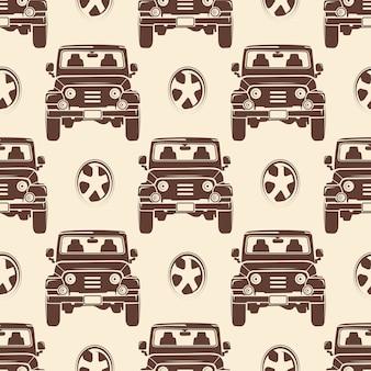 Nahtloses Musterdesign der Jeeps