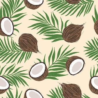 Nahtloses musterdesign der kokosnuss-illustration