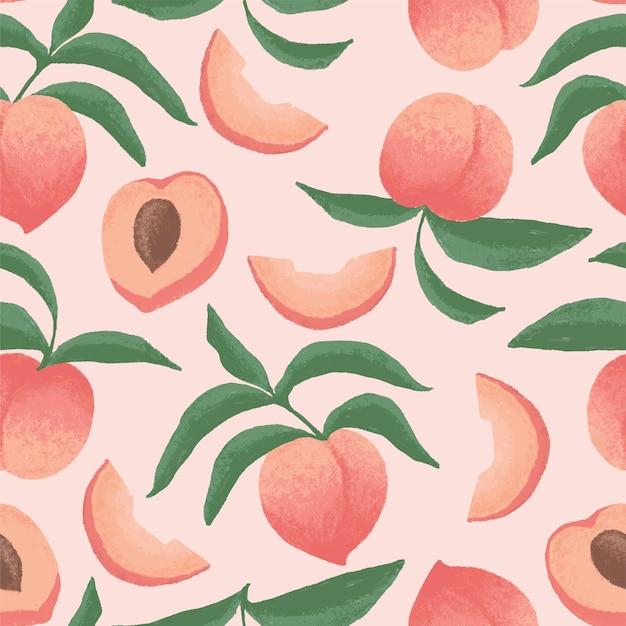 Nahtloses musterdesign der pfirsich-illustration