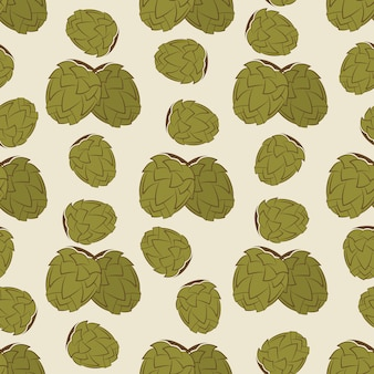 Nahtloses musterdesign des grünen hopfens