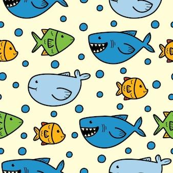 Nahtloses musterdesign des karikaturfisches