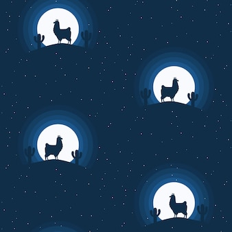 Nahtloses musterdesign des netten lamas - endlose blaue nachtszene