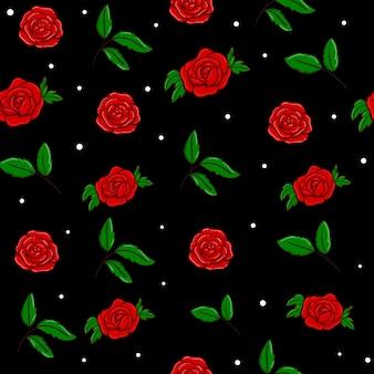 Nahtloses musterdesign des vektors der roten rosen im schwarzen. tapete