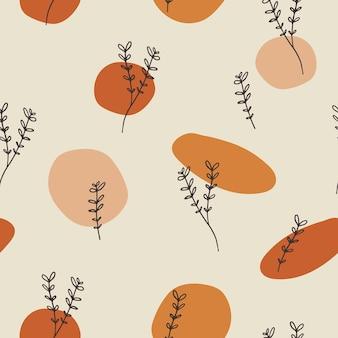 Nahtloses musterdesign mit floralen elementen und abstrakten formen