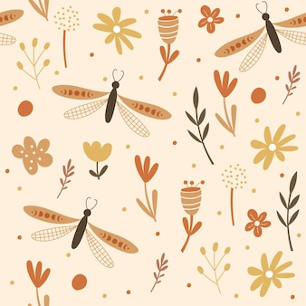 Nahtloses musterdesign mit floralen elementen und libellen. vektor-illustration.