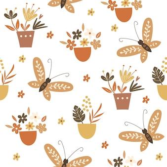 Nahtloses musterdesign mit floralen elementen und schmetterlingen. vektor-illustration.