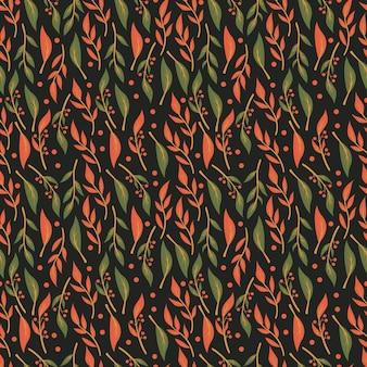Nahtloses musterdesign mit hand gezeichneten blumen und florenelementen
