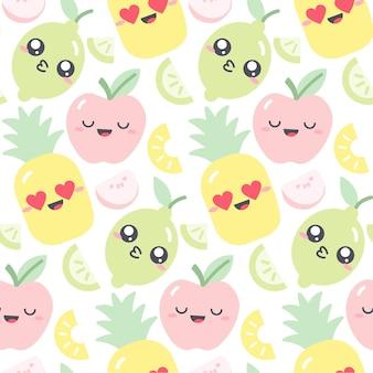 Nahtloses musterdesign mit kawaii früchten in den pastellfarben. lustige illustration mit niedlichen fruchtcharakteren für kinderkleidung. zeichnung von apfel, ananas und limette