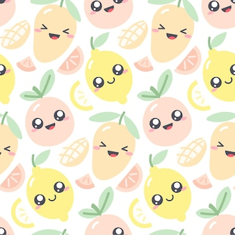 Nahtloses musterdesign mit kawaii früchten in den pastellfarben. lustige illustration mit niedlichen fruchtcharakteren für kinderkleidung. zeichnung von mango; zitrone und grapefruit