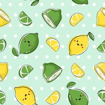 Nahtloses musterdesign mit niedlichen fruchtcharakteren. wiederholen sie die fliese mit kawaii zitrone und limettenzeichnung. Premium Vektoren
