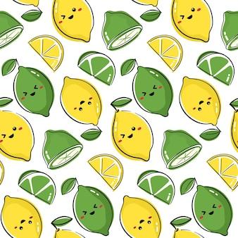 Nahtloses musterdesign mit niedlichen fruchtcharakteren. wiederholen sie die fliese mit kawaii zitrone und limettenzeichnung.