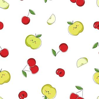 Nahtloses musterdesign mit niedlichen früchten. wiederholen sie fliese mit kawaii zeichnung von kirsche und grünem apfel