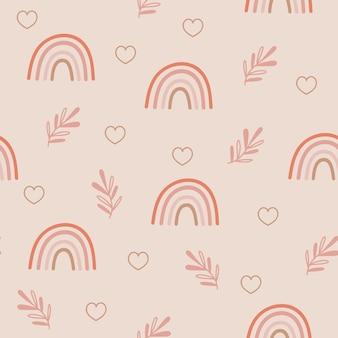 Nahtloses musterdesign mit regenbogen und floralen zweigen
