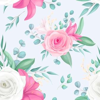 Nahtloses musterdesign mit schöner rosen- und lilienblume