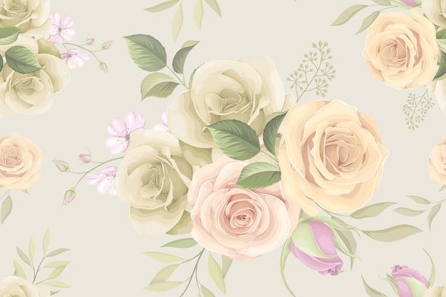 Nahtloses musterdesign mit schöner rosenblume