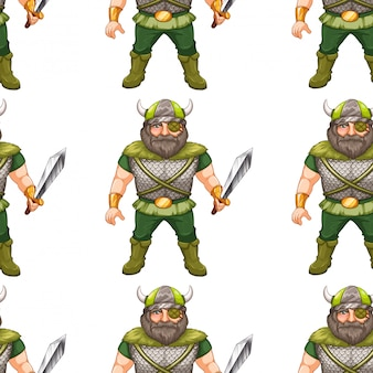 Nahtloses musterdesign mit wikinger-krieger