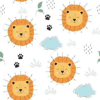 Nahtloses musterdruckdesign des netten löwen und der pflanzen vektorillustrationsdesign für modestoffe