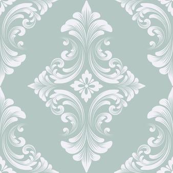 Nahtloses musterelement des vektordamastes. klassisches, luxuriöses, altmodisches damast-ornament, königliche viktorianische nahtlose textur für tapeten, textilien, verpackungen. exquisite florale barockvorlage.