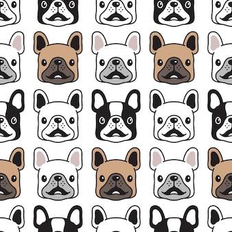 Nahtloses mustergesichtskopf der französischen bulldogge des hundes