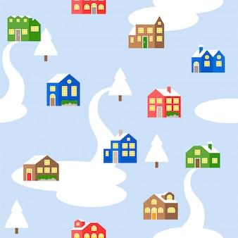 Nahtloses musterhaus oder -häuschen im winterthema