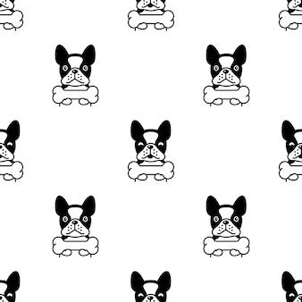 Nahtloses musterknochen der französischen bulldogge
