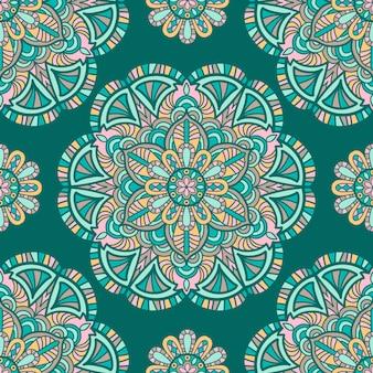 Nahtloses mustermandala-weinlesedesign für den druck. stammes-ornament.