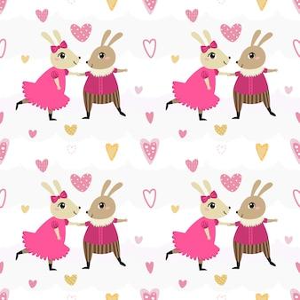 Nahtloses musterpaar-kaninchentanzen.
