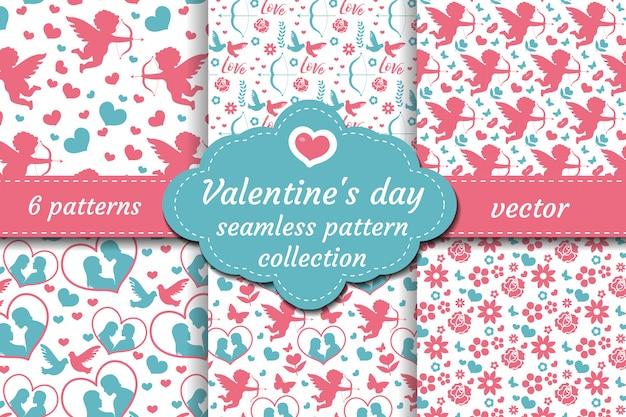 Nahtloses musterset des glücklichen valentinstags. sammlung niedlicher hintergrund der niedlichen romantischen liebe. amor, herz, blumen, paar, das textur wiederholt. illustration.